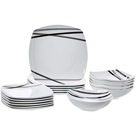 AmazonBasics 18-Piece Square Kitchen Dinnerware Set, Dishes, Bowls, Service for