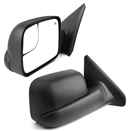YITAMOTOR Towing Mirrors Compatible for Dodge Ram, Power Heated Flip-up with Co