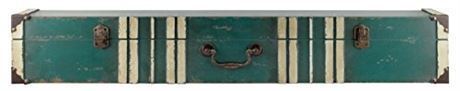 MCS 45885 Vintage Suitcase Wall Shelf in Distressed Aqua Finish with Cream Acce