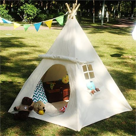 LAVIEVERT Children Playhouse Huge Indian Canvas Teepee Kids Play House with Two