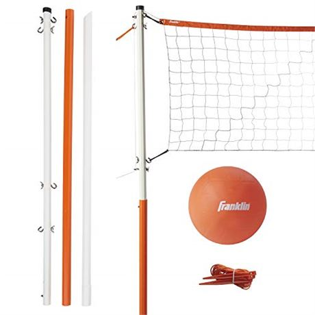 Franklin Sports Volleyball Set - Backyard Volleyball Net Set with Volleyball, P