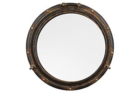 "Creative Co-op Distressed Metal Port Hole Reflective Framed Mirror, 22"" L x 22"""