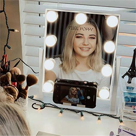 REBEL POPPY Lighted Makeup Mirror with LED Lights and Phone Mount, 3 Lighting T