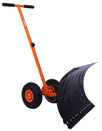 Ohuhu Snow Shovel for Driveway, Heavy Duty Metal Snow Shovel with Wheels, Adjus
