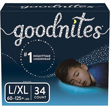 Goodnites Bedwetting Underwear for Boys, Large/X-Large (60-125+ lb.), 34 Ct (Pa