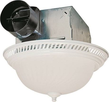 Air King DRLC703 Decorative Round Quiet Exhaust Bath Fan with Light, 70-CFM, Wh