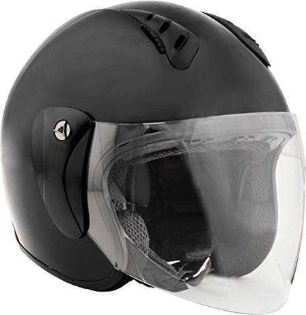 Fuel Helmets SH-WS0017 Unisex-Adult Open Face Helmet with Shield (Gloss Black,